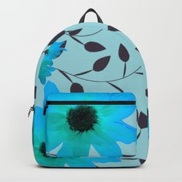 Pale Blue Flowers and Vines Backpack