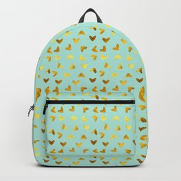 gold heart pattern blue Backpack