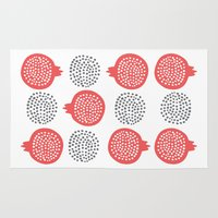 pomegranate Area & Throw Rugs featuring Pomegranate by curious creatures