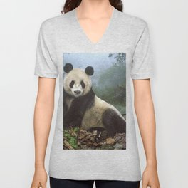 Majestic Adult Panda Chilling In Misty Wood Clearing Ultra HD Unisex V-Neck