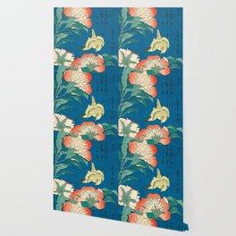Katsushika Hokusai Peonies and Canary 1834 Wallpaper