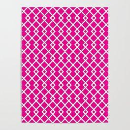 Hot Pink Diamond Pattern Poster
