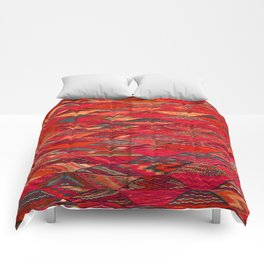 V35 Red Traditional Moroccan Artwork Pattern Comforters