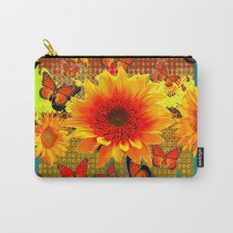Western Yellow Sunflowers  Monarch Butterflies Teal-Lime Patterns Carry-All Pouch