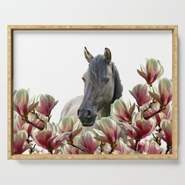 Horse between magnolia flowers #society6 #magnolia  Serving Tray