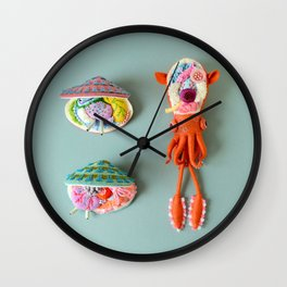 Anatomy of Small Ear Squid & Deep Water Clams Wall Clock