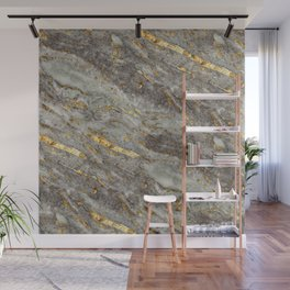 Gray Marble with Gold  Wall Mural