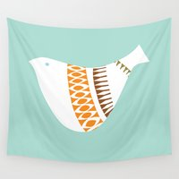 mid century Wall Tapestries featuring Mid-century Illustrated Bird No. 1 by deedee914