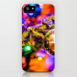 Glass Ornament Ball, Cheerful Lights iPhone Case