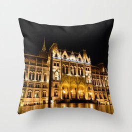 Parliament building in Budapest, capital of Hungary. Throw Pillow