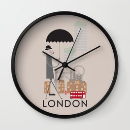 London - In the City - Retro Travel Poster Design Wall Clock