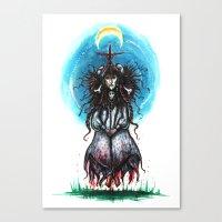 blair waldorf Canvas Prints featuring Blair Witch by Dona Zarzanga