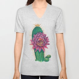 Crowned Cactus with Pink Flower Blossom Unisex V-Neck