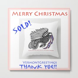 SOLD Veterans Thank You - Zentangle Illustration Metal Print