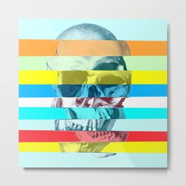 Striped Glitch Skull Metal Print