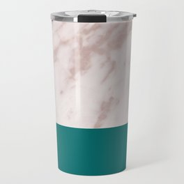Real Rose Gold Marble and Biscay Bay Travel Mug