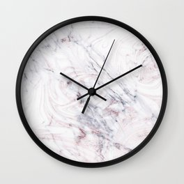 Touch of Rose White & Grey Marble Swirl Wall Clock