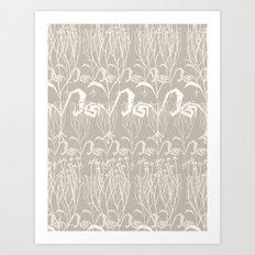 Warm Grey Botanial Pattern Art Print