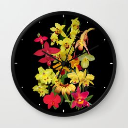 Orchids - Hot Colors! Wall Clock
