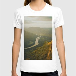 Birds Eyes View Of Mountain Valley River Beautiful Green Landscape IN The Jungle T-shirt