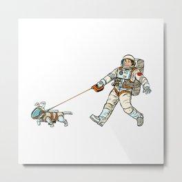 Astronaut Dog Walks Astronaut Human Metal Print