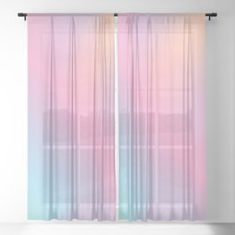 Abstract aurora pink teal lavender blue watercolor gradient Sheer Curtain