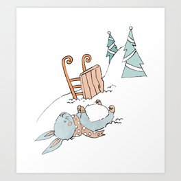 Bunny Sledding Art Print