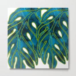 Blue & Green Mix Lau Ulu Leaf Metal Print