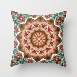 Autumn Berry Flower Mandala Throw Pillow