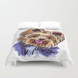 The cute smiley Yorkie love of my life! Duvet Cover