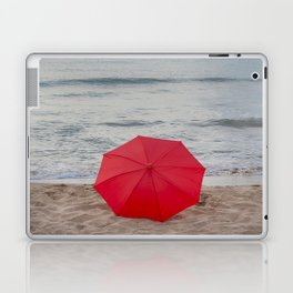 Red Umbrella lying at the beach III Laptop & iPad Skin