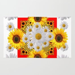WHITE DAISIES & SUNFLOWERS RED GARDEN  FLORAL Rug