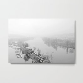 Prague in Winter - Fishing Metal Print