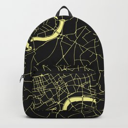 London Black on Yellow Street Map Backpack