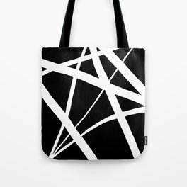 Geometric Line Abstract - Black White Tote Bag