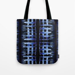 """Black and Blue Watercolor Pattern """"Cross Hatch"""" Tote Bag"""