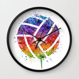 Volleyball Ball Colorful Watercolor Art Sports Gift Wall Clock