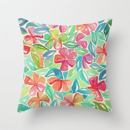 Tropical Floral Watercolor Painting Throw Pillow