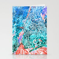 new york map Stationery Cards featuring new york new york map by Bekim ART