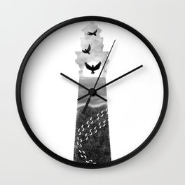 I Carried You Lighthouse Design Black and White Wall Clock