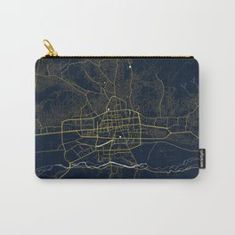 Ulaanbaatar City Map of Mongolia - Gold Art Deco Carry-All Pouch