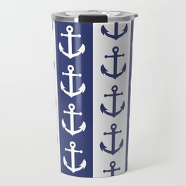 Nautical Sailor Stripes with Anchor Pattern Blue 241 Travel Mug