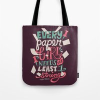paper towns Tote Bags featuring Paper Towns: Paper Girl by Risa Rodil