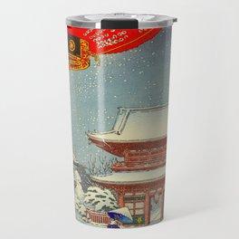 Tsuchiya Koitsu A Winter Day at The Temple Asakusa Vintage Japanese Woodblock Print Travel Mug