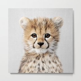 Baby Cheetah - Colorful Metal Print