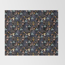 dark wild forest mushrooms Throw Blanket