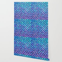 Purples & Blues Mermaid scales Wallpaper