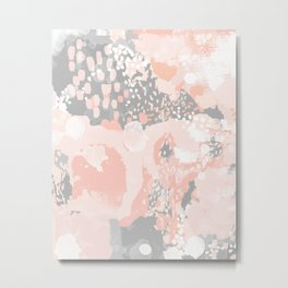 Penelope - abstract millenium pink and grey painting large canvas art decor Metal Print