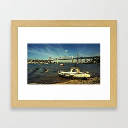 Royal Albert Bridge and boat  Framed Art Print