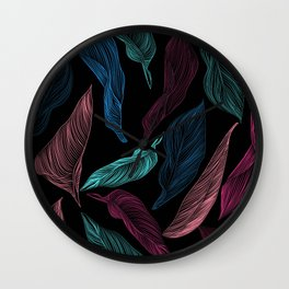 silk leaves Wall Clock